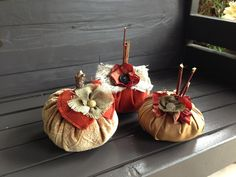 Set of 3 Fabric Pumpkins by bethborder on Etsy, $25.00