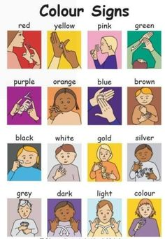 A sign language is a complete and comprehensive language of its own. It is not just some gestures which are random and used to convey a meaning. Sign language also has a set of grammar rules to go by. This language is mainly used by p Sign Language Chart, Sign Language For Kids, Sign Language Phrases, Sign Language Alphabet, British Sign Language, Learn Sign Language, Sign Language Colors, Learning Languages Tips, Alphabet Code