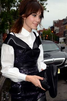 earlysunsetsovermonroeville:    Attendee Alexa Chung of the 2012 Met Ball exit the Bowery Hotel en route to attend the event.  (May 7, 2012- Source: Bauer Griffin)