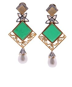 Green Stone #Earrings With #Pearl Drop And #AmericanDiamond | Code - ER-4