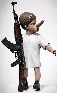 Chapman Brothers - Yin (2012), painted sculpture with decommissioned Kalashnikov rifle   art-for-a-change.com