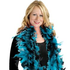 Turquoise and Black Feather Boa - Party City