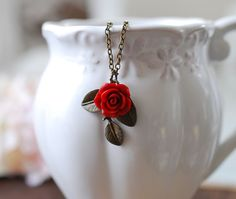 Red Rose Antique Brass Leaf Necklace. Vintage Style by LeChaim
