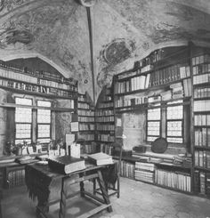 A library belonging to the church of the  old little town of Isny im Allgäu, Germany - housed in a room in the medieval church tower.