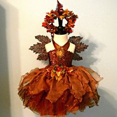 fairy costume - AUTUMN WOODLAND Fairy - made to order sizes 2T to 8 - Spectacular Fall Flowergirl - Photo Prop