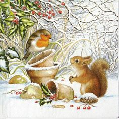 Crafting Paper 4 Vintage Table Paper Napkins For Decoupage Lunch Decopatch Winter Animals & Garden Vintage Christmas Cards, Christmas Pictures, Vintage Cards, Illustration Noel, Christmas Illustration, Christmas Animals, Christmas Art, Winter Christmas Scenes, Christmas Squirrel