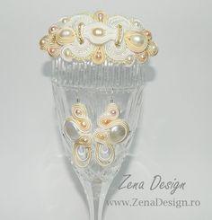 Ivory and white soutache jewelry for the bride – Zena Design