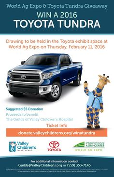 Who would like to win a 2016 Toyota Tundra AND help a great cause at the same time? It's possible now, with the start of this giveaway!  We are selling tickets at the dealership: $5 for one, or $20 for a pack of five. Proceeds benefit Valley Children's Hospital.  Comment with your questions or click the link for more details: http://www.maderatoyota.com/world-ag-expo-2016-tundra-giveaway.htm  #2016TundraGiveaway #Toyota   #Fresno #Madera #Merced   #Modesto #Clovis #Selma #Visalia