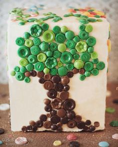 Chocolate Button Tree cake...cute molded buttons decorate a delicious yellow cake