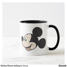 Mickey Mouse smiling. Regalos, Gifts. Producto disponible en tienda Zazzle. Tazón, desayuno, té, café. Product available in Zazzle store. Bowl, breakfast, tea, coffee. Link to product: http://www.zazzle.com/mickey_mouse_smiling_mug-168279247070357711?CMPN=shareicon&lang=en&social=true&rf=238167879144476949 #disney #taza #mug