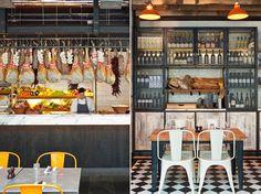 Metal screen upper cabinet doors. Jamie's Italian in Westfield, Stratford City | Yatzer