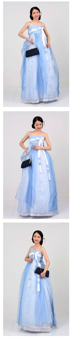 Pale blues hanbok.