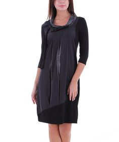Another great find on #zulily! Black Satin Pleat Cowl Neck Dress #zulilyfinds