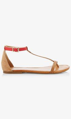 COLOR BLOCK T-STRAP SANDAL | Express
