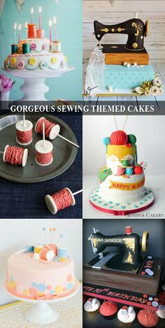 Need an idea to make a party special? Get inspired by these sewing themed goodies! Sewing Cake, Sewing Machine Cake, Cake Icing, Fondant Cakes, Cupcake Cakes, Knitting Cake, Grandma Cake, Quilted Cake, Fantasy Cake
