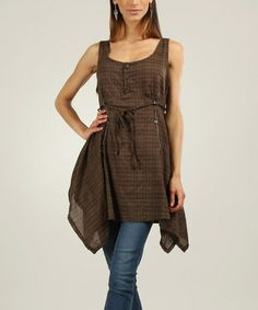 Another great find on #zulily! Brown Plaid Handkerchief Top by L33 by Virginie&Moi #zulilyfinds