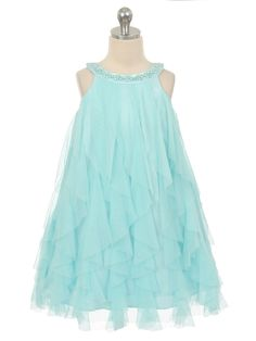 Aqua Mesh Multi Layered Flower Girl. Features lovely coloured pearls on the neckline.