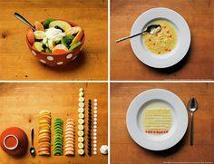 fruit salad: apple. kiwi. orange. banana. blueberry. almond. whipped cream. alphabet soup: pasta pieces. carrot. #foodporn #yummy #neat