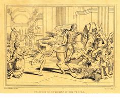 "Antique Religous Print - ""HELIODORUS STRICKEN IN THE TEMPLE"" - Copper Engraving - 1814"
