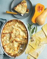 Butternut Squash and Sage Lasagna | Martha Stewart Living - Layers of sage-flecked squash and rich, creamy ricotta serve as both filling and sauce.