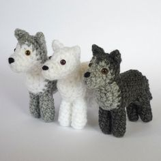 I designed this wolf to fit to the Medieval Fantasy dolls both in style and size (though it's meant to be a direwolf, larger than regular grey wolves). But of course it is a cute wolf on its own too - or could even become a husky, if made from white & grey with blue eyes. Yarn weight is not important as long as you choose your hook size accordingly. From DK yarn with 2,5-3 mm hooks, my wolves are 8-9 cm tall from ground to ear tip.The pattern is 8 pages long. It is written in English using…