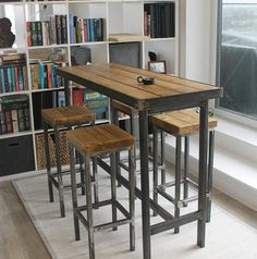 Hand Made Bespoke Modern Industrial Steel Dining Table Stools