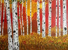 Nature's Playground, Acrylic Impasto  #aspen #birch #acrylicpainting #paletteknife