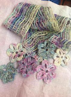 Pretty crochet scarf with nice chain pattern and flower edgings made with Valdani Thread in subdued colours