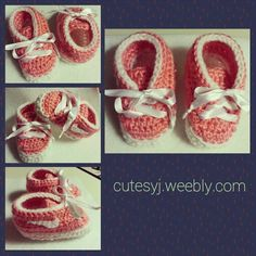 Pink and white baby girl booties.