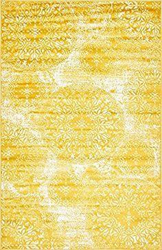 Amazon.com: Unique Loom Sofia Collection Yellow 5 x 8 Area Rug (5' x 8'): Kitchen & Dining
