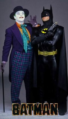 Jack Nicholson and Michael Keaton as The Joker and Batman in 'Batman' (1989). Costume Designer: Bob Ringwood