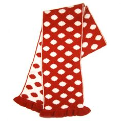Cashmere Blend Polka Dot Scarf with Ruffled Trim