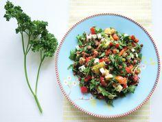 Lentil salad: Rocket, feta, orange, paprika, parsley, and mint