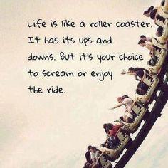 人生は上がったり下がったり、 ジェットコースターに似てる。 悲鳴を上げるか楽しむかは自分次第。