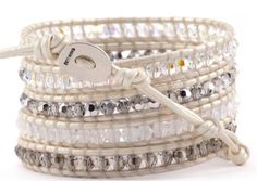 Chan Luu Pearl Crystal Mix Wrap Bracelet on Pearl Leather - Listing price: $240.00 Now: $190.00