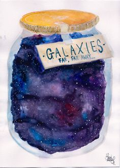 Jar of Stars. Imagine being able to choose from a shelf of jars. Each jar will take you to someplace different. Different world, different time, different universe. Is choose the right jar. Transparents Tumblr, You Are My Moon, Illustration Arte, Watercolor Illustration, Galaxy Jar, Hr Giger, E Mc2, Watercolor Art, Galaxy Watercolour