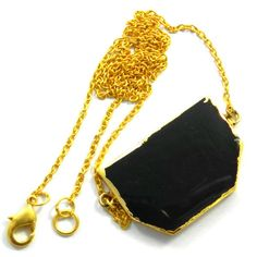Black Onyx gem gold electroplated brass chain elegant pendant necklace jewelry #Handmade #Chain