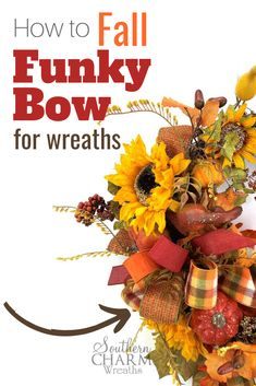 Free Sewing Projects using Fabric Scraps How to Simple Fall Funky Bow Learn What You Mean .How to Simple Fall Funky Bow Learn How You Mean ., Bow Experience Fall Funky myRound and Making Bows For Wreaths, How To Make Wreaths, How To Make Bows, Ribbon Making, Easy Fall Wreaths, Wreath Making, Fall Crafts, Holiday Crafts, Diy And Crafts