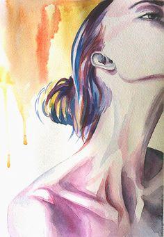 """Люди, ручной работы. Ярмарка Мастеров - ручная работа. Купить Акварель """"Соблазн"""". Handmade. Комбинированный, акварельная картина, Живопись, портрет"""
