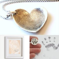Some are definitely DIY.  I really love the white ceramic handprint ornament.  That would be so easy to do if you took a pottery class! 7 Fun Ways to Preserve Tiny Prints