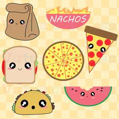Lunch Clipart - Food Clip Art, Pizza, Tacos, Nachos, Paper Bag, Pizza Clipart, Planner, Kawaii, Chibi, Fun, Free Commercial and Personal Use