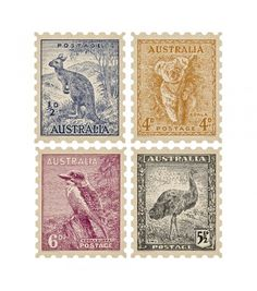 Little Set of 4 - Vintage Colours - Quercus & Co. Self adhesive wall decals Stamp Values, Broken Promises, Australia Map, Vintage Stamps, Stamp Making, Australian Artists, Stamp Collecting, Lorraine, As You Like