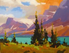 Canadian artist - Mike Svob's work is a interesting cross between the rich colors of the Southwest and bold shapes of the Canadian Rockies.  A piece like this can fit into almost any decor...traditional, contemporary or transitional.