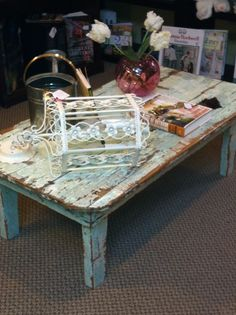 Coffee table - made from an old door.  I LOVE this table!