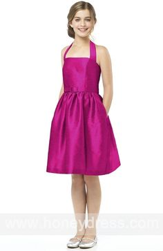 A-line #Halter #Satin Knee-length #Junior #Bridesmaid #Dresses 07006    $70.10  Find it here.... http://honeydress.com/b/a-line-halter-satin-knee-length-junior-bridesmaid-dresses-07006.html?utm_source=SNS%5FSource_medium=SNS%5FPinterest_term=Pinterest_campaign=Pinterest%5FPost_nooverride=1...
