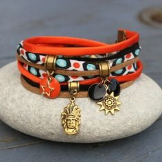 Bracelet cordon soie tissu et suedine 2 tours cheyenne orange doré noir bronze