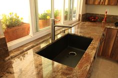 Granite countertop with a reddish-brown color through out; Blanco Sinks, Mission Viejo, Reddish Brown, Granite Countertops, Kitchen Remodel, Emerald, Kitchens, Construction, Color