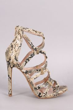 Shoe Republic LA Python Strappy Hardware Embellished #Heel