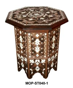 Moroccan Mother Of Pearl Inlay Side Table From Badia Design Inc.