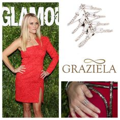 Look who's wearing Graziela Gems! #ReeseWitherspoon was spotted in our White Chervon Ring at the Hot Pursuit Mexico City Red Carpet! #ring #diamond #diamondring #baguette #fashion #jewelry #grazielagems